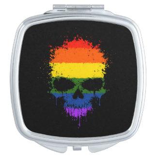 Gay Pride Rainbow Dripping Splatter Skull Vanity Mirror