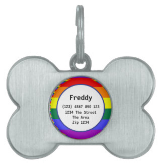 Gay Pride Rainbow Flag ID Name Pet Tag