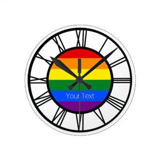 Gay Pride Rainbow Flag LGBT Personalized Round Clock