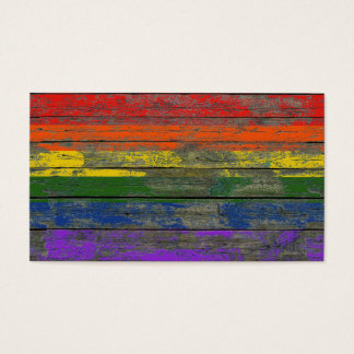 Gay Pride Rainbow Flag on Rough Wood Boards Effect Business Card