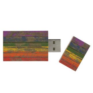 Gay Pride Rainbow Flag on Rough Wood Boards Effect Wood USB 2.0 Flash Drive