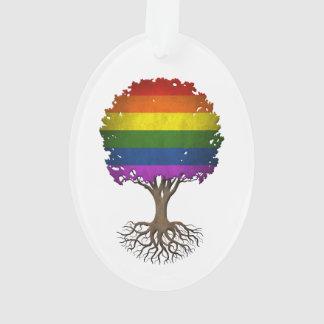 Gay Pride Rainbow Flag Tree of Life Customizable Ornament