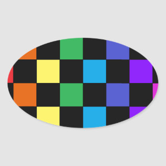 Gay Pride Rainbow Gifts - Rainbow Chessboard Oval Sticker