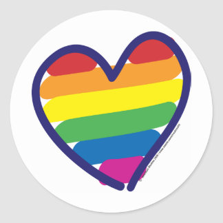 Gay Pride Rainbow Heart Classic Round Sticker