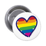 Gay Pride Rainbow Heart Pinback Button