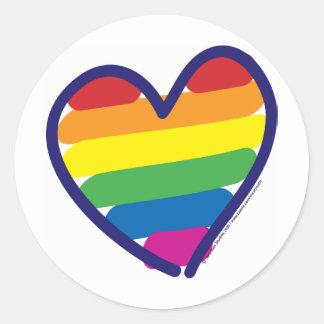 Gay Pride Rainbow Heart Round Sticker