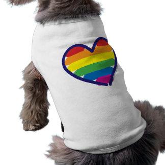 Gay Pride Rainbow Heart Sleeveless Dog Shirt