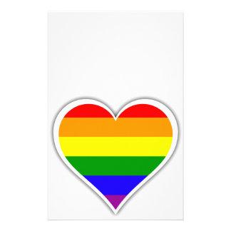 Gay pride rainbow heart stationery design