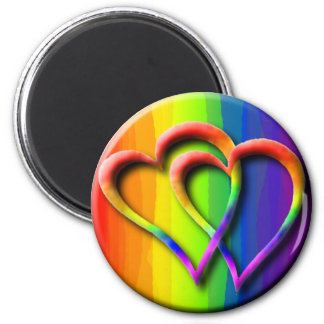 Gay Pride Rainbow Hearts Intertwined LGBT 6 Cm Round Magnet