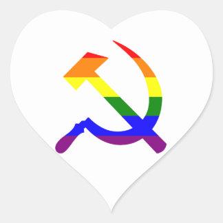 Gay Pride Rainbow Soviet Hammer And Sickle Heart Sticker