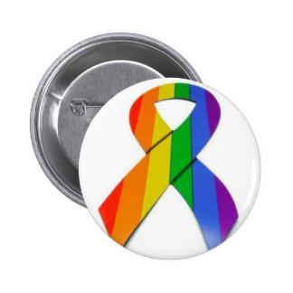 gay pride ribbon 6 cm round badge