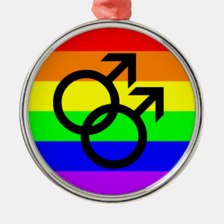 Gay Pride Silver-Colored Round Decoration