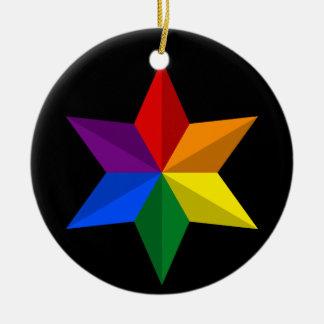 Gay Pride Star Round Ceramic Decoration