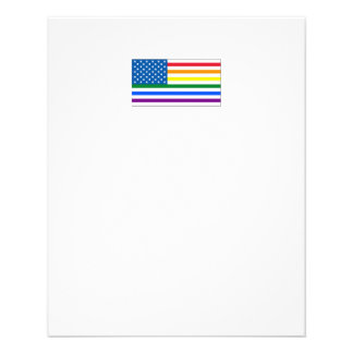 Gay Pride US Flag- Red White & Rainbow - w/Outline 11.5 Cm X 14 Cm Flyer