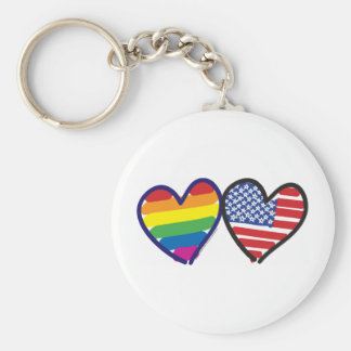 Gay Pride USA Basic Round Button Key Ring