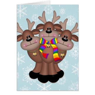 Gay Pride Whimsical Christmas Reindeer Card