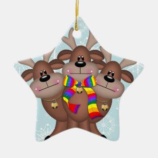 Gay Pride Whimsical Christmas Reindeer Ceramic Star Decoration