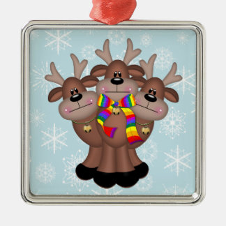 Gay Pride Whimsical Christmas Reindeer Christmas Ornament