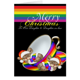 Gay Pride Whimsical Christmas Teacup Mice Card