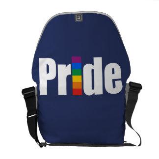 GAY PRIDE WORD BAR BLACK MESSENGER BAGS