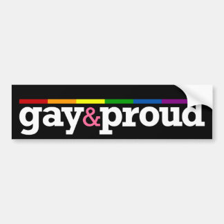 Gay&proud Black Bumper Sticker