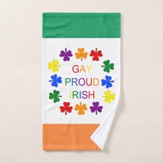 Gay Proud Irish LGBT Rainbow Shamrocks Hand Towel