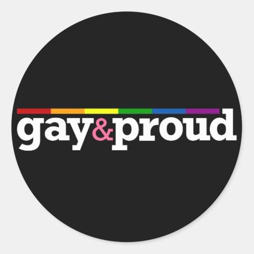 Gay&proud Round Black Sticker