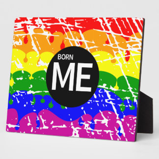Gay Rainbow Flag Born This Way Plaque