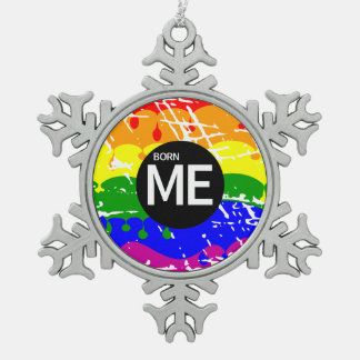 Gay Rainbow Flag Born This Way Snowflake Pewter Christmas Ornament