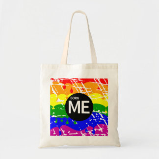 Gay Rainbow Flag Born This Way Tote Bag