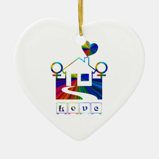 Gay rainbow home- LOVE Christmas Ornament