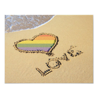 Gay Rainbow Love Heart In The Sand 11 Cm X 14 Cm Invitation Card