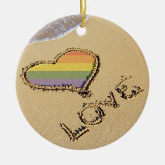 Gay Rainbow Love Heart In The Sand Christmas Ornament