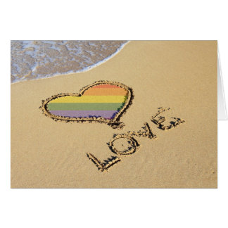 Gay Rainbow Love Heart In The Sand Greeting Card