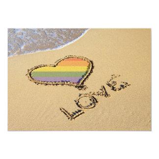 Gay Rainbow Love Heart In The Sand 13 Cm X 18 Cm Invitation Card
