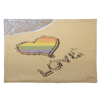 Gay Rainbow Love Heart In The Sand Placemat