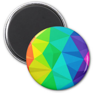 gay rainbow low poly background abstract pattern 6 cm round magnet