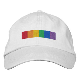 Gay Rainbow Pride Flag Strip Embroidered Cap