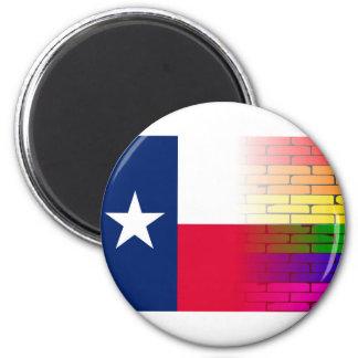 Gay Rainbow Wall Texan Flag 6 Cm Round Magnet
