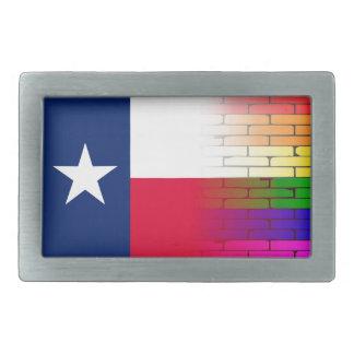 Gay Rainbow Wall Texan Flag Rectangular Belt Buckle