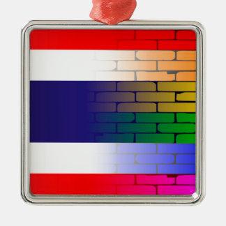 Gay Rainbow Wall Thai Flag Christmas Ornament