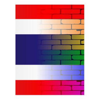 Gay Rainbow Wall Thai Flag Postcard