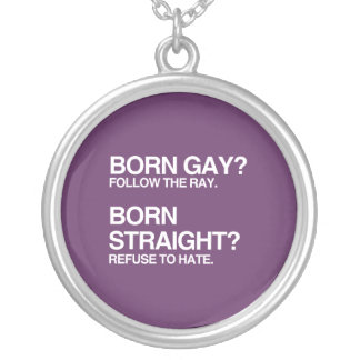 GAY RAY STRAIGHT HATE SILVER PLATED NECKLACE