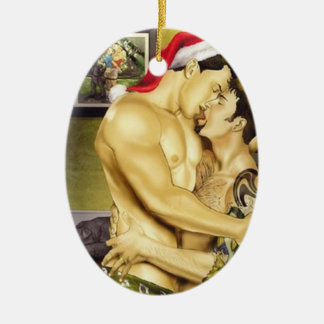 Gay Santa Kiss Ornament