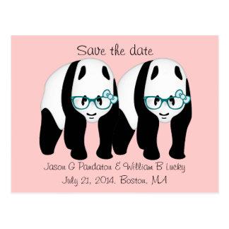 Gay Save the date, Two male pandas Postcard