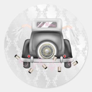 Gay Silver Damask Wedding Sticker with Wedding Car