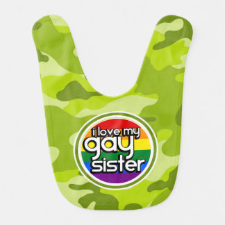 Gay Sister; bright green camo, camouflage Bib