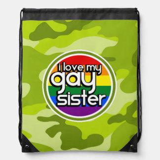 Gay Sister bright green camo camouflage Drawstring Backpacks