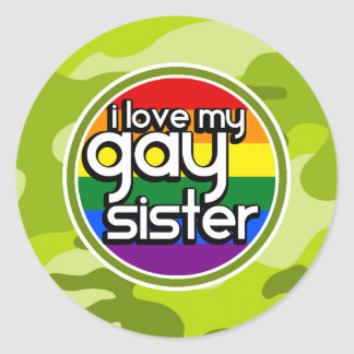 Gay Sister; bright green camo, camouflage Stickers