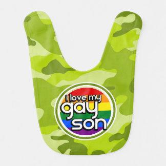 Gay Son; bright green camo, camouflage Bib